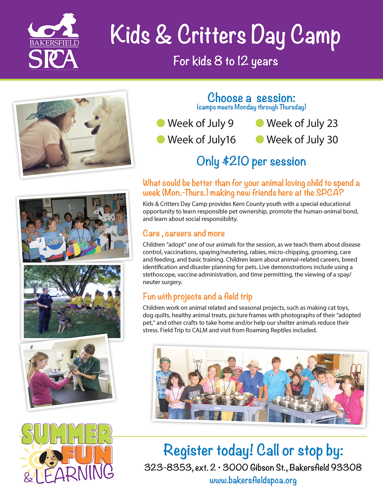 SPCA Bakersfield Summer Camp