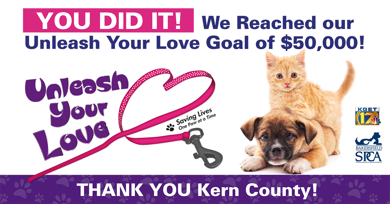 Bakersfield SPCA Reached Unleash Your Love Goal